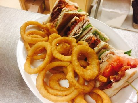 Club Sandwich and Onion Rings